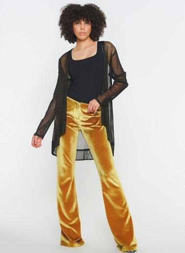 Zeynep Ökmen Kadife İspanyol Paça Pantalon Sarı